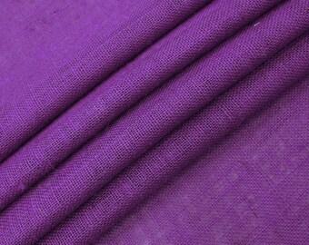"Purple Jute Fabric, Natural Fabric, Rustic Decor, Purple Burlap, Home Decor Burlap Fabric, 50"" Inch Wide Jute Fabric By The Yard ZJC1I"