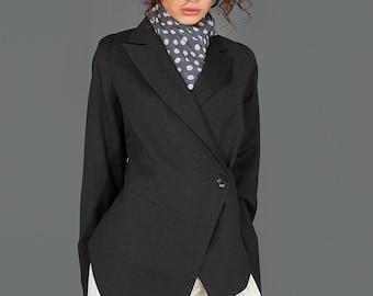 Asymmetric Jacket, Business Casual, Business Fashion, High Fashion Jacket, Modern Jacket, Black Blazer Jacket, Plus Size Jacket, Wool Jacket