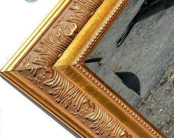 Vintage Wide Gold Mirror Ornate, Baroque, Wood, Tulips & Grass Motif, 16x20, Wide Gold Beveled Mirror, Up-cycled, Gold Mirror, Ornate Mirror