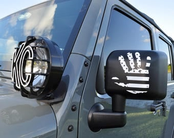 Jeep Wave Decal | American Flag Sticker |  Car Decal