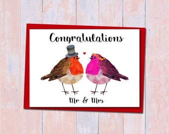 Robin wedding card, Mr and Mrs card, Unique wedding card, Bride and Groom wedding card, Bird lover wedding card, Cute love wedding card
