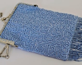 1920s style embroidered and beaded flapper bag in pale blue silk