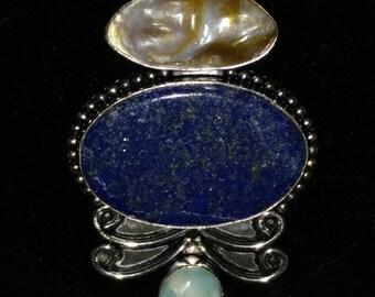 Lapis, Larimar, and Biwa Pearl Pendant Necklace