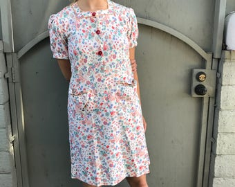 Amazing 40s French Ric Rac House Dress