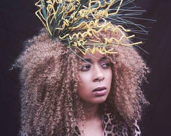 wild spiral stem orange and green pagan inspired side headpiece / costume / nature
