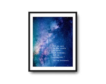 In the Stars William Shakespeare Quote, Destiny Quote, Poetry Art Print, Graduation Gift, Literary Print, Modern Wall Art, Large Wall Art