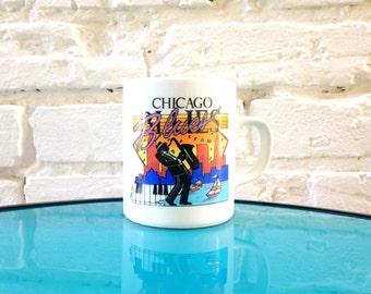 1980's Chicago BLUES Mug / 1986 Souvenir Mug / Chicago Skyline / Midwest / Illinois / Cartoon / Soul / Lake Michigan / Saxophone