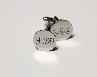 Custom Cuff Links, Custom Wedding Gifts, Wedding Cuff links, Engraved Cuff links, Groomsmen Gift, Custom Groomsmen Gifts --CL-SS-IDO