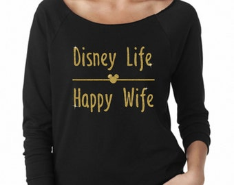 Disney Life Happy Wife Glitter Vacation sweatshirt