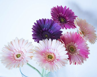 SALE Real Touch Daisy Artificial Flowers Yellow/White/Pink&Purple Wedding Centerpiece/Floral Arrangement/Home Decor