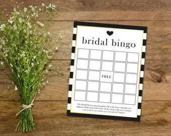 Bridal Shower Game Printable // Bridal Bingo // Stripes // DIY
