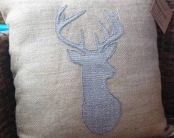 Hessian two tone appliquéd stag Head Deer Cushion Pillow Grey Home Decor Scandi Design Gift for Mum Sister Daughter Friend