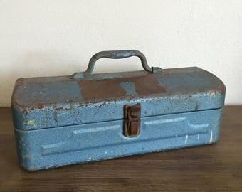 Blue Metal Tool/Tackle Box; Vintage Tool Box; Rustic Storage; Mid Century Toolbox; Metal Fishing Box; Craft Storage
