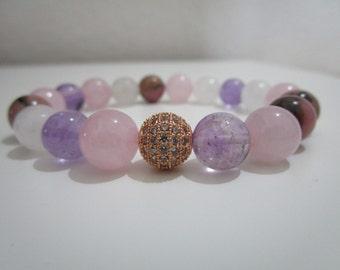 Ametrine bracelet, Rhodonite bracelet, Rose quartz bracelet, Natural stone bracelet, Gft, Gift for women, Womens jewelry, Womens bracelet