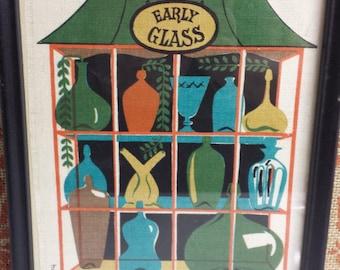 Robert Darr Wert Hand Printed Linen, Framed Folk Art, Vintage Kitchen Decor, Early Glass