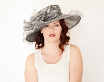 Gray Kentucky Derby Hat, Church hat, Tea Party Hat, Grey Hat, Formal Hat, Fashion Hat, Church Hat, Derby Hat