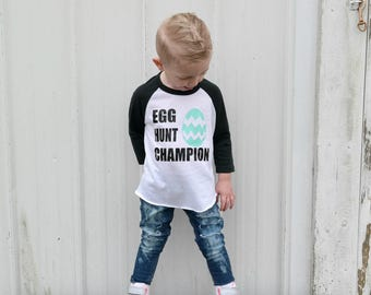 Easter outfit, Easter shirt for boys, Easter shirt, Trendy Easter outfit, Egg hunt champion,  baby boy Easter, baby girl, Easter raglan
