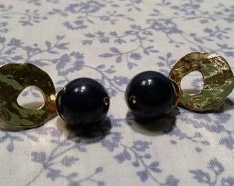 1980s Navy Blue Drop Earrings