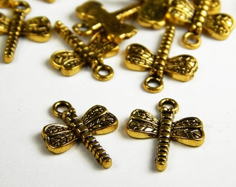 10 Pieces Gold Tone Dragonfly Charms - 18x15mm - Antique Gold Dragonfly Charms - Jewelry Supplies - Craft Supplies