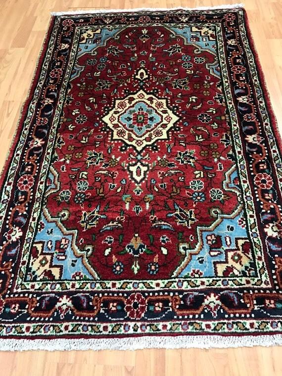 "2'8"" x 4'1"" Persian Hamadan Oriental Rug - 1950s - Hand Made - 100% Wool"