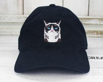 Stay Grumpy Black Dad Hat Embroidered Baseball Cap Internet Cat Memes
