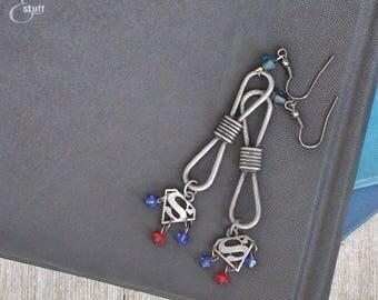 Silver Superman Infinity Earrings | Super Hero Jewelry | Dangle and Drop