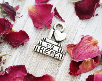 set of 10, i love to read charm, bookworm charm, book charm, hobby charm, antique silver charm, 14mm x 12mm