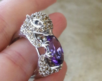Rare Sterling Amethyst Otter Ring