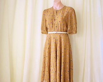Mustard Japanese Vintage Day Dress, Floral 70s Summer Dress, Small 4161