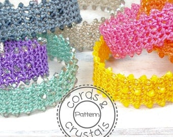 Crochet Bracelet Pattern with Swarovski Crystals - finished with ribbon crimps
