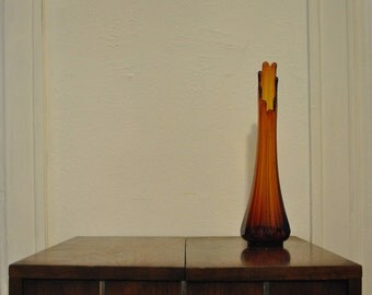 Vintage Swung Glass Vase Dark Amber Mid Century Viking