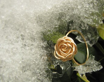 "Ring: ""The Golden Rose"" ,Gold Rose Ring, Wire Wrapped Rose Ring, Rose Ring, Gold Ring, Tarnish Resistant Rose Ring"