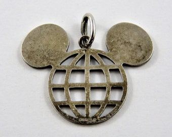 Mickey Mouse Ears Epcot Center Sterling Silver Pendant or Charm.
