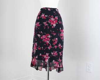1990s Skirt  - Trumpet Skirt - Flutter Hem - Feminine Silk Floral - Black Pink - Slight High Low Hem - Dancing Skirt Size Small Waist 27""