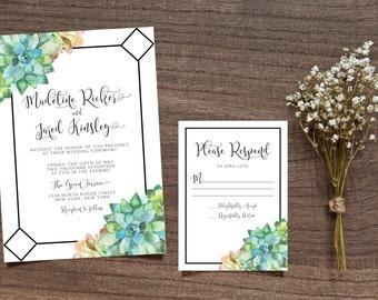 Printable Succulent Wedding Invitation, Leafy Invitation,  Calligraphy Invite, Printable Invite, Green Leaves Invite, Bohemian Invitation