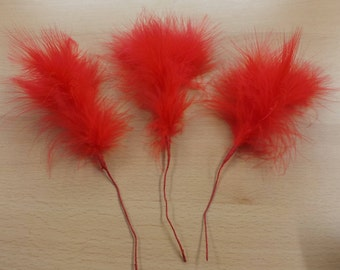 3 Red Marabou Feather Picks on Wired Stems