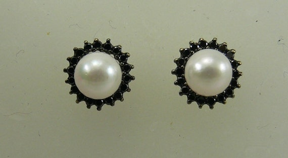Akoya Pearl Earring and Black Diamond Jackets 14k Yellow Gold