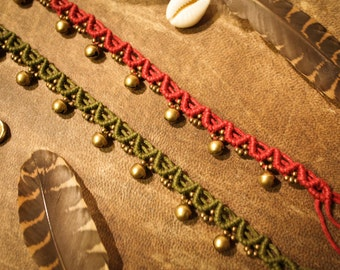 Gypsy Anklet with Brass Bells - Macramé India Anklet - Jingling Anklet - Barefoot Hippie - Boho Jewellery - Natural Bohemian Goa