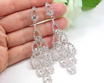 Chandelier long Bridal Earrings, Long Crystal statement earrings, Wedding earrings, Brides statement earrings, Austrian Crystal earrings