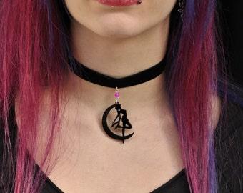 Sailor moon necklace,usagi necklace,sailor moon pendant,velvet choker necklace,lolita cosplay necklace,sailor moon cosplay,usagi tsukino