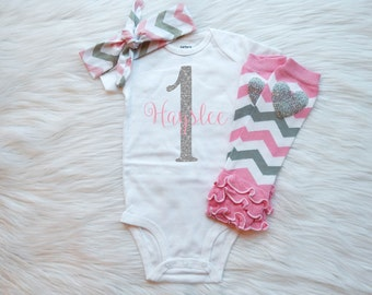 First Birthday Outfit, Birthday Outfit for girls, First Birthday Shirts, Girls Birthday Outfit, Pink Birthday Outfit, Pink Leg Warmers