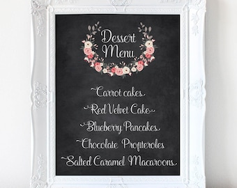 Chalkboard and Wreath Dessert menu sign, Customized Calligraphy dessert poster, wedding sign, printable PDF