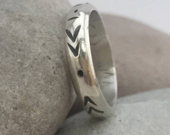 Sterling Silver Ring Band, Size 6 1/2, Thumb Ring, Boho Ring, Rustic,
