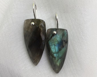 Stunning Large Triangular Facetted Authentic Labradorite Gemstone Earrings