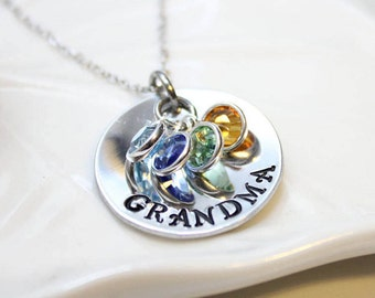 grandma necklace, grandma jewelry, grandma birthstone necklace, grandma gift, grandmother necklace, personalized grandmother necklace