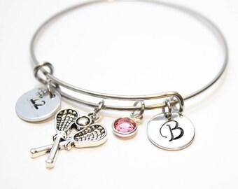 lacrosse bracelet, personalized lacrosse bracelet, lacrosse charm bracelet, lacrosse bangle, lacrosse initial bracelet, lacrosse player gift