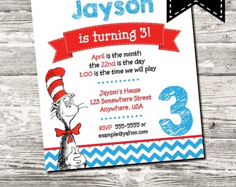 Dr Seuss Birthday Party Invitation with Free Thank You Digital Printable