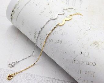Mustache Charm Bracelet - Thin Dainty Silver Chain Bracelet - Everyday Layering Bracelet - Lucky Charm Bracelet - Delicate Gold Bracelet
