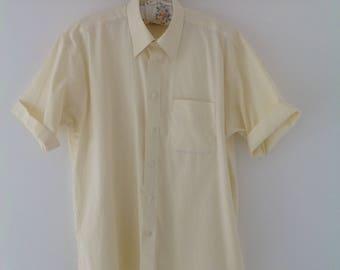 Vintage men's shirt, lemon shirt, men's shirt, summer top, cotton shirt, 90's shirt, short sleeved shirt, oversized shirt, vintage shirt