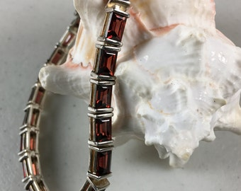 Vintage Garnet Gemstone Sterling Silver Bracelet